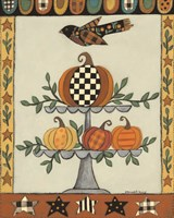 Two Tiered Patterned Pumpkins Fine Art Print