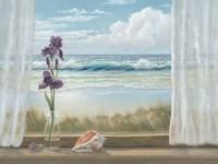 Irises on Windowsill Framed Print
