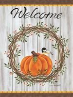 Pumpkin Welcome Wreath Fine Art Print