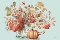 Autumn in Nature 01 on Aqua Fine Art Print