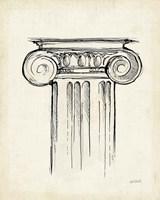 Museum Sketches V Off White Framed Print