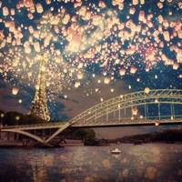 Love Wish Lanterns Over Paris Framed Print
