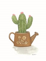 Watering Can Cactus Framed Print
