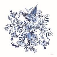 Blue & White Flowers II Framed Print