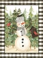 Snowman and Birdhouse Framed Print