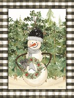 Snowman with Wreath Framed Print