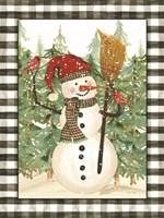 Snowman with Cardinals Framed Print