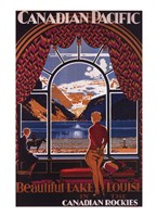 "Canadian Pacific-Lake Louise window - 20"" x 27"""