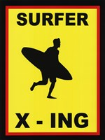 Sign - Surfer Crossing Fine Art Print