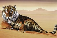 """Tiger In Sand by Richard Henson - 36"""" x 24"""""""