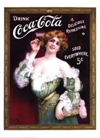 Coca-Cola Lady in Green Dress Framed Print