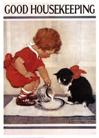 Good Housekeeping Milk And Kitten Fine Art Print