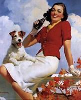 Coca-Cola Lady with Dog Fine Art Print