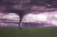 Tornado And Lightning On Field Fine Art Print