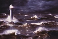 Lighthouse And Waves, South Africa Fine Art Print