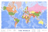 Map of The World (mercator projection) Wall Poster