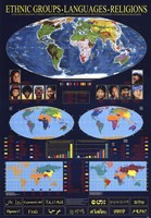 """World Map of Ethnic Groups, Languages, Religions by Richard Henson - 27"""" x 38"""", FulcrumGallery.com brand"""