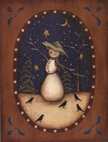 Snowman with Crows Framed Print