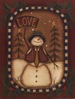 Love Snowman Framed Print