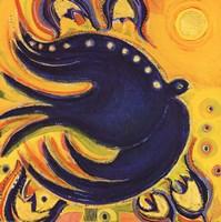 Oiseau Et Colombe Bleus Fine Art Print