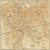 Mapa Di Roma, 1898 Fine Art Print