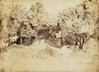 Sepia Corot Landscape Fine Art Print