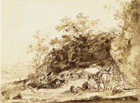 """Sepia Landscape with Horses by Jean-Honore Fragonard - 15"""" x 11"""""""