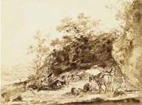 Sepia Landscape with Horses Fine Art Print