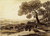Sepia Landscape with Bridge Fine Art Print
