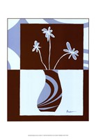 "Minimalist Flowers in Blue IV by Jennifer Goldberger - 13"" x 19"""