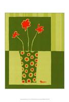 """Minimalist Flowers in Green I by Jennifer Goldberger - 11"""" x 14"""""""