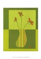 "Minimalist Flowers in Green III by Jennifer Goldberger - 11"" x 14"""