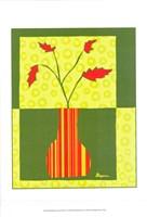 "Minimalist Flowers in Green IV by Jennifer Goldberger - 11"" x 14"""