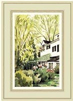 Garden view of a house in Milbrook Fine Art Print
