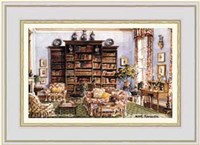 Library Sitting Room in an American Country House Fine Art Print