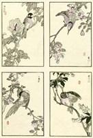"""Woodblock Oriental Birds by Chariklia Zarris - 9"""" x 12"""""""