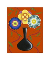 Stylized Flowers in Vase I Giclee