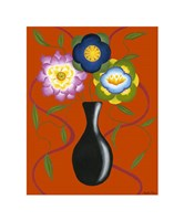 "Stylized Flowers in Vase II by Chariklia Zarris - 14"" x 18"""