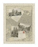 """Vintage Map of London by Vision Studio - 20"""" x 26"""""""