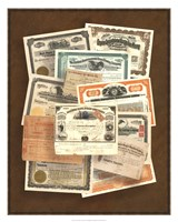Stock Certificate Collection Fine Art Print
