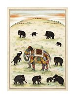 "Indian Elephant Gathering by Ramesh Sharma - 20"" x 27"", FulcrumGallery.com brand"