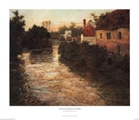 "Village on the Bank of a Stream by Johan Frederick Thaulow - 29"" x 25"""