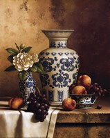 Blue and White Oriental Still Life with Peaches and Grapes Fine Art Print