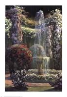 Jardin Fleuri au Jet d'Eau Fine Art Print