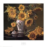 Sunflowers in a Chinese Vase Fine Art Print