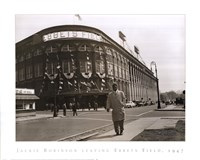 Jackie Robinson Leaving Ebbets Field, 1947 Framed Print