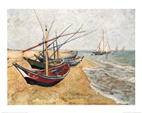 Fishing Boats on the Beach, Saintes-Maries-De-La-Mer, c.1888 Fine Art Print