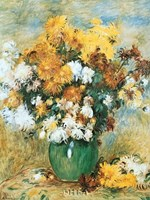 "Vase of Chrysanthemums by Pierre-Auguste Renoir - 9"" x 11"" - $10.49"