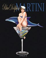 "Blue Dolphin Martini by Ralph Burch - 9"" x 11"""