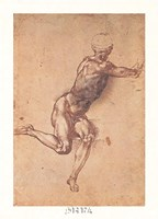 "Study of a Seated Male Figure by Michelangelo Buonarroti - 12"" x 18"""